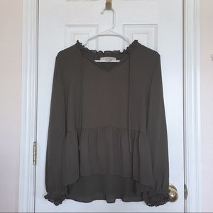 LOFT Long-Sleeved Peplum Blouse